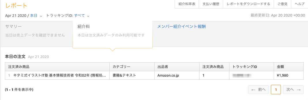 Amazon レポート画面