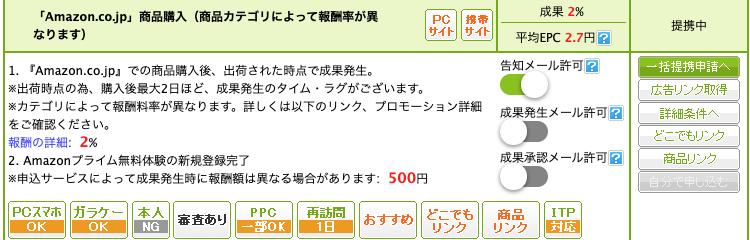 もしもアフィリエイト Amazon.co.jp